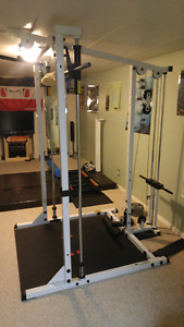 Body Solid Squat Rack with Lat Pull Down Attachment/ weights