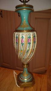 Antique French Limoges Porcelain Lamp