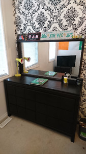Queen Bed frame, big dresser, small locker, tv table