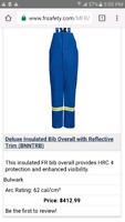 Bulwark insulated flame resistant overalls