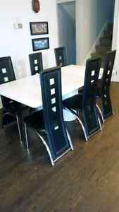 White Dining Table with Six chairs