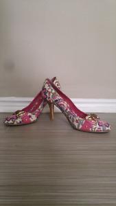Floral kitten heels