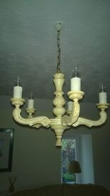 SHABBY CHIC 5 ARM WOODEN CHANDELIER