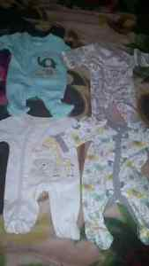 Pre mature baby pj's never worn & bathtub