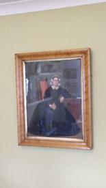 Oil on canvas painting on walnut frame