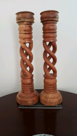 Striking Tall Wooden Church Candle Holders