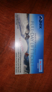 Apex 1 Day Lift Ticket with discounts