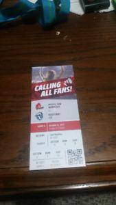 Moosejaw warriors hockey ticket for friday hockey game