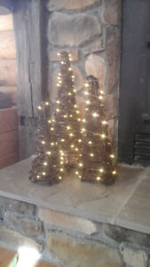 BARBED WIRE TREES - SET OF 3 -LIGHTED