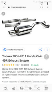Yonaka exhaust system for Honda civic