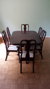 Double pedestal table and chairs