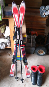 kids skis , poles and boots