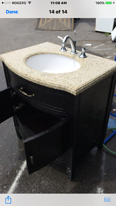 BATHROOM VANITY COMPLETE WITH MARBLE TOP AND COMPLETE SINK