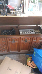 Vintage record player with 8 track