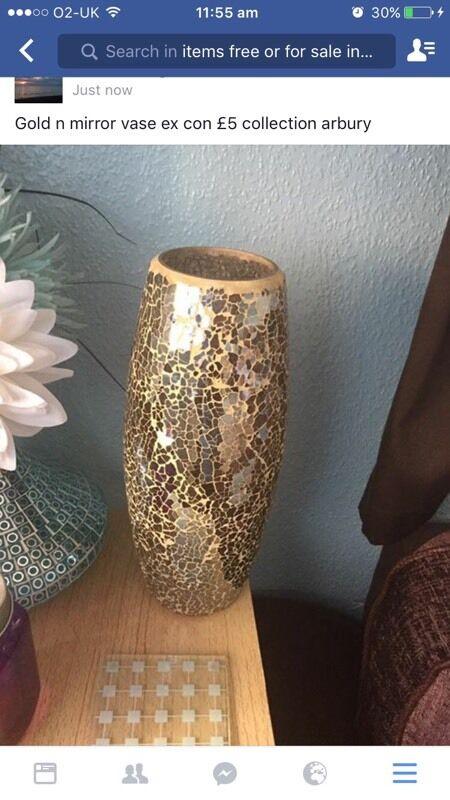 Cream N Gold Cracked Glass Vase In Cambridge Cambridgeshire Gumtree