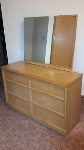 Blonde Bedroom Dresser with Large Mirror and Gents Drawer OBO