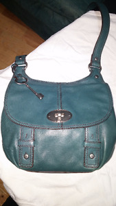 Fossil Leather Crossbody Bag - Teal / Green