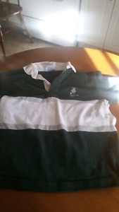 West Ferris rugby t-shirt green and white stripes