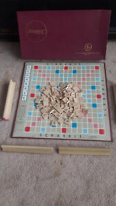 1950's Scrabble Game with 4 wood letter holders and Original Box