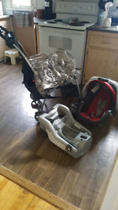 Universal stroller with car seat and base