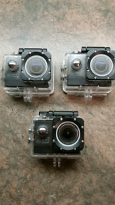 3 x Wimius action cams.. WiFi 1080HD