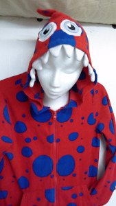 Adult red hooded monster onesie pajama with blue polka dots
