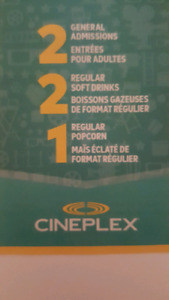 2 CINIPLEX MOVIE TICKETS FOR ADULT + 2 DRINKS AND A POPCORN