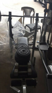 HOME WORK OUT CHAIR + WEIGHTS
