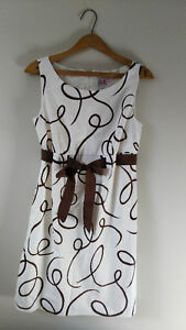Cute cream and brown dress.  Size 8 petite Windsor Region Ontario image 1