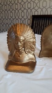 Antique Native American Indian Chief Brass Bookends