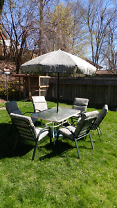 Complete outside table with chairs and umbrella