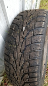 4 - Uniroyal Ice & Snow 225/75r17 (like new) on steel rims