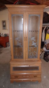 Gun Cabinet - wood with etched glass display doors