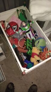 SOLID WOOD TOY BOX FULL OF GOOD TOYS & GAMES $60 DELIVERED Kitchener / Waterloo Kitchener Area image 1