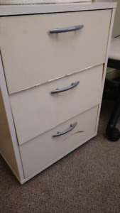 White cabinet on wheels