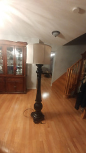 Floor Lamp Dark Brown  With Gold Ring  $45.00