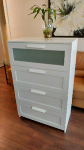 IKEA 4 drawer dresser, white, frosted glass