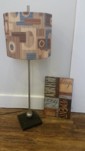 Desk lamp and wall decoration