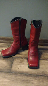 Red, cowboy style, leather dress boots