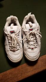 Girls Fila White trainers uk size 2