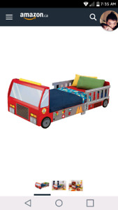 Wooden toddler fire truck bed