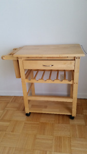 Wine Barbeque Table, Kitchen Cart, Natural, Pine