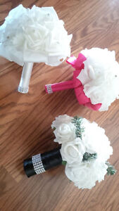 Wedding fake flowers and pink dog bow ties