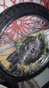 Dirt Bike Enduro Tires and chrome rims complete