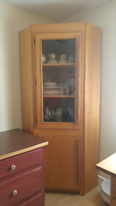 Large china cabinet with glass door, corner unit