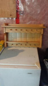 crafted wood decorative shelves and peg hanger
