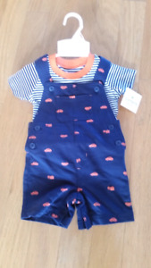 BNWT BOYS SHORT OVERALL SET-12mth