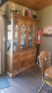 Solid Oak China Cabinet. Vintage and Gorgeous