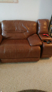 Extra wide, leather power reclining couches