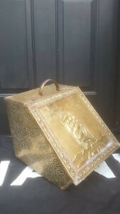 Antique English Victorian Hammered Brass Coal Fireside Box
